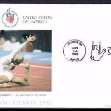 Sellos: USA 1996 SOBRE PRIMER DIA CIRCULACION OLIMPIADAS- JUEGOS OLIMPICOS- ATLANTA 96- GIMNASIA- FDC . Lote 57398529