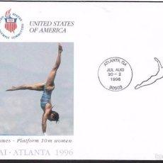 Sellos: USA 1996 SOBRE PRIMER DIA CIRCULACION OLIMPIADAS- JUEGOS OLIMPICOS- ATLANTA 96- SALTO NATACION- FDC . Lote 57398655