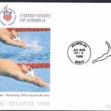 Sellos: USA 1996 SOBRE PRIMER DIA CIRCULACION OLIMPIADAS- JUEGOS OLIMPICOS- ATLANTA 96- NATACION- FDC . Lote 57398667