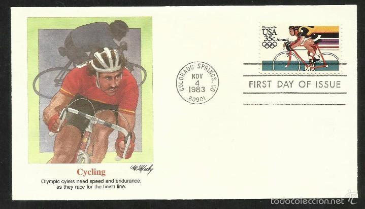 SOBRE PRIMER DIA CIRCULACION OLIMPIADAS LOS ANGELES 1984- JUEGOS OLIMPICOS- FDC- CICLISMO (Sellos - Temáticas - Olimpiadas)