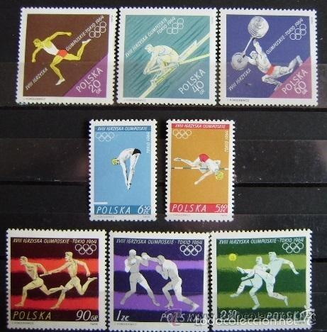 POLONIA 1964 IVERT 1370/7 *** JUEGOS OLIMPICOS DE TOKIO - DEPORTES (Sellos - Temáticas - Olimpiadas)