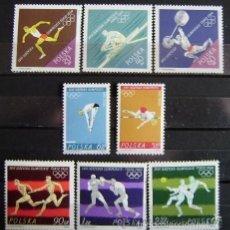 Sellos: POLONIA 1964 IVERT 1370/7 *** JUEGOS OLIMPICOS DE TOKIO - DEPORTES. Lote 57650782