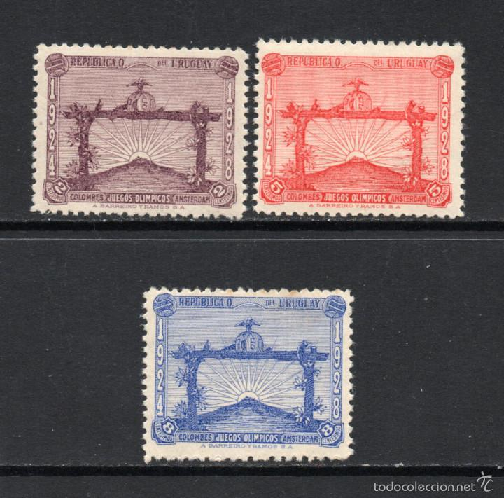 URUGUAY 371/73** - AÑO 1928 - URUGUAY CAMPEON OLIMPICO DE FÚTBOL, AMSTERDAN (Sellos - Temáticas - Olimpiadas)