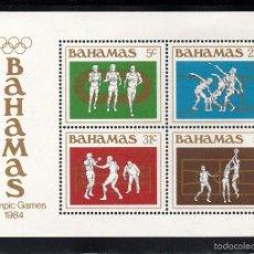 Sellos: BAHAMAS HB 41** - AÑO 1984 - JUEGOS OLÍMPICOS, LOS ANGELES 84 - ATLETISMO - BOXEO - BALONCESTO. Lote 60693999