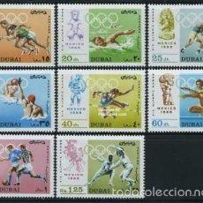 Sellos: DUBAI AÑO 1968 OLIMPIADAS DE MEXICO Nº MICHEL 315-22. Lote 61223359