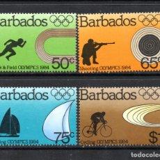 Sellos: BARBADOS 592/95** - AÑO 1984 - JUEGOS OLIMPICOS, DE LOS ANGELES 84. Lote 61368735