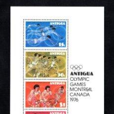 Sellos: ANTIGUA HB 25** - AÑO 1976 - JUEGOS OLÍMPICOS DE MONTREAL - ATLETISMO - NATACION - CICLISMO. Lote 65980382