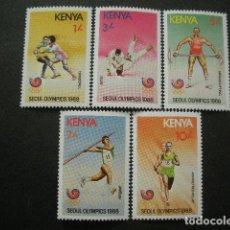 Sellos: KENYA 1988 IVERT 447/51 *** JUEGOS OLIMPICOS DE SEÚL - DEPORTES. Lote 66232638
