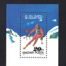 Sellos: HUNGRIA HB 194** - AÑO 1987 - JUEGOS OLIMPICOS DE INVIERNO , CALGARY 88. Lote 68708009
