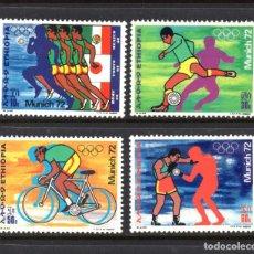 Sellos: ETIOPIA 635/38** - AÑO 1972 - JUEGOS OLIMPICOS, MUNICH 72 - ATLETISMO, FUTBOL, CICLISMO, BOXEO. Lote 71634547