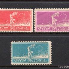 Sellos: URUGUAY 281/83* - AÑO 1924 - URUGUAY CAMPEON OLIMPICO DE FUTBOL EN LOS JUEGOS OLÍMPICOS DE PARIS . Lote 72088751