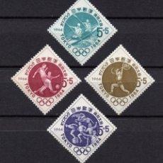 Timbres: JAPÓN 778/81** - AÑO 1964 - JUEGOS OLÍMPICOS, TOKIO 1964 - REMO, FUTBOL, HALTEROFILIA , PENTATLON. Lote 175073904