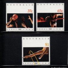 Sellos: AUSTRALIA 1094/96** - AÑO 1988 - JUEGOS OLÍMPICOS, SEUL 88 - BALONCESTO, GIMNASIA, ATLETISMO. Lote 175553163