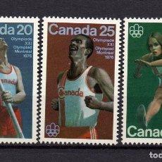 Sellos: CANADÁ 571/73** - AÑO 1975 - JUEGOS OLÍMPICOS, MONTREAL 1976 - ATLETISMO. Lote 191424310