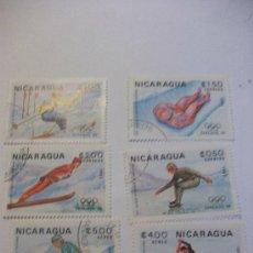 Sellos: LOTE DE 6 SELLOS DE NICARAGUA : JUEGOS DE INVIERNO DE SARAJEVO´84. Lote 90469004