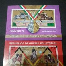 Sellos: 2 HH B DE G. ECUATORIAL MATASELLADAS. 1972. OLIMPIADAS. DEPORTES. JUEGOS. DEPORTE. CABALLOS.HIPICA. Lote 97742123