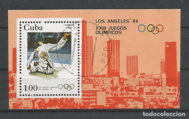CUBA. HOJA BLOQUE JJ.OO. LOS ÁNGELES' 84. USADA (Sellos - Temáticas - Olimpiadas)