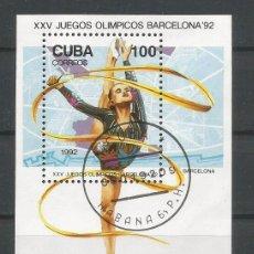 Sellos: CUBA. HOJA BLOQUE JJ.OO. BARCELONA' 92. USADA. Lote 128383891