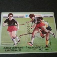 Timbres: HB DE NICARAGUA MATASELLADA. 1989. OLIMPIADAS. JUEGOS. DEPORTES. ESPAÑA. BARCELONA. . Lote 98511428