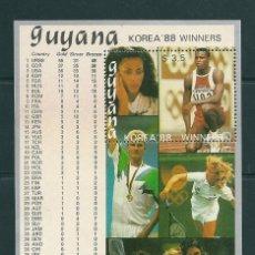 Sellos: GUYANA 1988 - OLYMPICS BARCELONA 92 - BLOCK MICHEL Nº 41 - STAMPWORLD Nº 2345 - WINNERS SEOUL 88. Lote 100454395