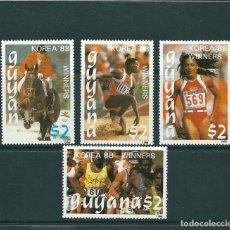 Sellos: GUYANA 1988 - OLYMPICS BARCELONA 92 - Nº 2050UB-2050UE - WINNERS SEOUL 88. Lote 100454579