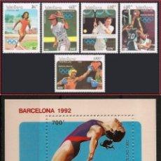 Sellos: LAOS 1992 - OLYMPICS BARCELONA 92 - YVERT 1027-1031 + BF 119 - MICHEL 1296-1300 + BLOCK 142. Lote 101307139