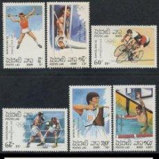 Sellos: LAOS 1989 JJOO BARCELONA 92 - YVERT 913-918 + BF 105. Lote 26553550