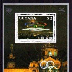 Sellos: GUYANA 1988 - JJOO DE BARCELONA 92 - BLOCK SEUL-BARCELONA (EMBLEMA PRIMERO). Lote 101698159