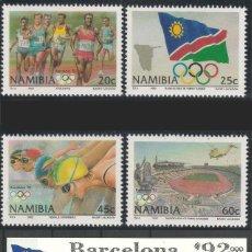 Sellos: NAMIBIA 1992 - OLYMPICS BARCELONA 92 - YVERT Nº 683-686 + HB 16**. Lote 105725079