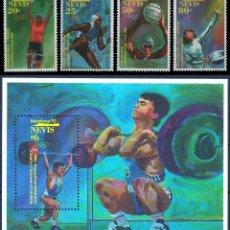 Sellos: NEVIS 1992 - OLYMPICS BARCELONA 92 - YVERT Nº 638-641 + HB 49**. Lote 105728143