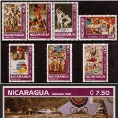Sellos: NICARAGUA 1992 - OLYMPICS BARCELONA 92 - YVERT Nº 1687-1693 + HB 212**. Lote 105794119