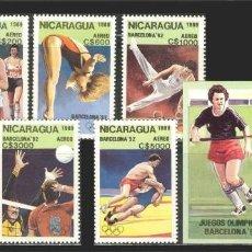 Sellos: NICARAGUA 1989 - OLYMPICS BARCELONA 92 - YVERT Nº A 1300-1306 + HB 192**. Lote 105966051