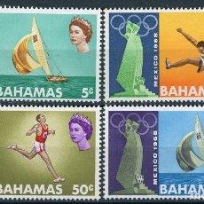 Sellos: BAHAMAS 1968 IVERT 265/8 * JUEGOS OLIMPICOS DE MEXICO - DEPORTES - VELA Y ATLETISMO. Lote 107027823