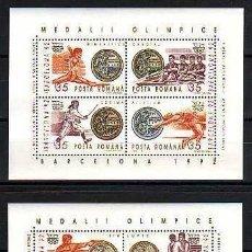 Timbres: RUMANIA 1992 - OLYMPICS BARCELONA 92 - YVERT BLOCS Nº 218-219 MICHEL BLOKS 279-280 SCOTT SS 3797-98. Lote 107923951