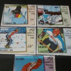 Sellos: SELLOS DE R. D. P. DE LAOS (LAO) MTDOS. 1988. DEPORTES. INVIERNO. BIATHLON. ESQUI. HOCKEY. PATINAJE.. Lote 111528907