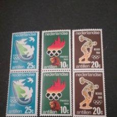Sellos: SELLOS DE ANTILLAS HOLANDESAS NUEVOS.1968. DEPORTE. MEXICO. DF. ESTADIUM. PALOMA. ANTORCHA.ESCULTURA. Lote 117896743