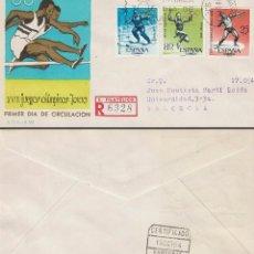 Sellos: EDIFIL 1617/9, JUEGOS OLIMPICOS DE TOKIO, PRIMER DIA DE 10-10-1964 SERIE CORTA SOBRE SFC CIRCULADO. Lote 118189483