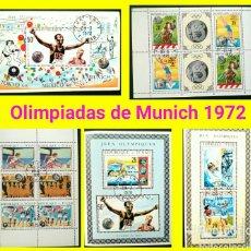 Sellos: JUEGOS OLÍMPICOS DE MUNICH 1972, 5 HOJAS BLOQUE DE SELLOS USADOS DE REPÚBLICA DEL TCHAD. Lote 120202387