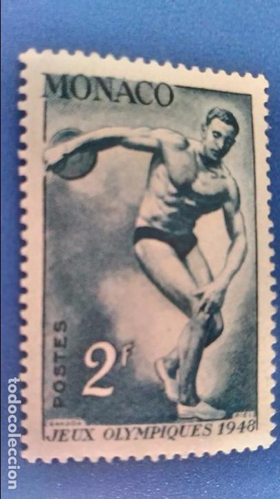 SELLO DE MÓNACO. YVERT 321 JJ. OO. LONDRES: LANZAMIENTO DE ISCO. AÑO 1948. (Sellos - Temáticas - Olimpiadas)