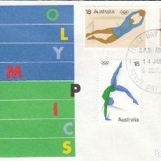 Sellos: AUSTRALIA 605/8, JUEGOS OLÍMPICOS. MONTRÉAL: FUTBOL, CICLISMO, NATACION, PRIMER DIA DE 14-7-1976. Lote 122453119