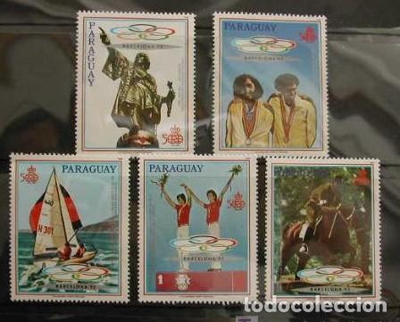 PARAGUAY - JUEGOS OLIMPICOS DE BARCELONA 92 - 5 VALORES (Sellos - Temáticas - Olimpiadas)
