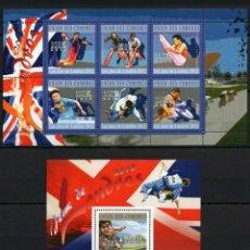 Sellos: OLIMPIADAS DE LONDRES 2012, 2 HOJAS BLOQUE DE SELLOS NUEVOS DE COMORAS. Lote 124508728