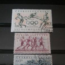 Sellos: SELLOS DE CHECOSLOVAQUIA MTDOS (USADOS).1956. MELBOURNE,56. JUEGOS. CARRERAS. CABALLOS. SALTO. DISCO. Lote 124523344