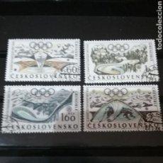 Sellos: SELLOS DE CHECOSLOVAQUIA MTDOS (USADOS).1968. JUEGOS GRENOBLE. PISTA. PABELLON. INVIERNO. HOKEY. PE. Lote 124559083