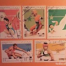Sellos: SAHARA OCC 1995 - JUEGOS OLÍMPICOS ATLANTA 1996 - ALTEROFILIA, BEISBOL, BOXEO, SALTO ALTURA.. Lote 129636875