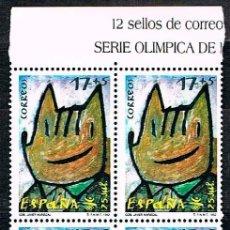 Sellos: EDIFIL 3212, JUEGOS OLIMPICOS DE BARCELONA 92, COBI, NUEVO *** EN BLOQUE DE 4 CON CABECERA DE HOJA. Lote 130505042