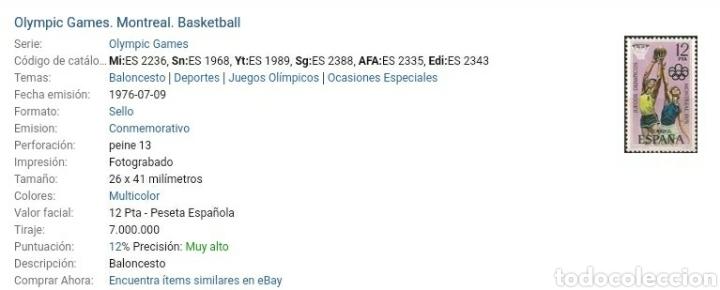 Sellos: Sellos de España nuevos. 1976. Edf: 2340-43. Juegos. Montreal. Boxeo. Lucha. Baloncesto. Atletas. Re - Foto 4 - 131131615