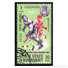 Timbres: QU´AITI STATE (ADEN) 1967. MI 124A, YT 85B. JUEGOS OLÍMPICOS DE GRENOBLE. HOCKEY HIELO. USADO. Lote 142091402