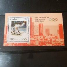 Sellos: HB R. CUBA MTDAS/1983/JUEGOS OLIMPIADAS LOS ANGELES,84/LUCHA/JUDO/CIUDAD. Lote 143817725