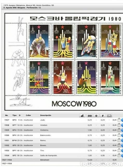Sellos: HB Corea Norte mtda (DPKR)/1979/Juegos olimpiadas/Moscu,80/ciclismo/boxeo/atletismo/voleibol/judo/re - Foto 3 - 151527933